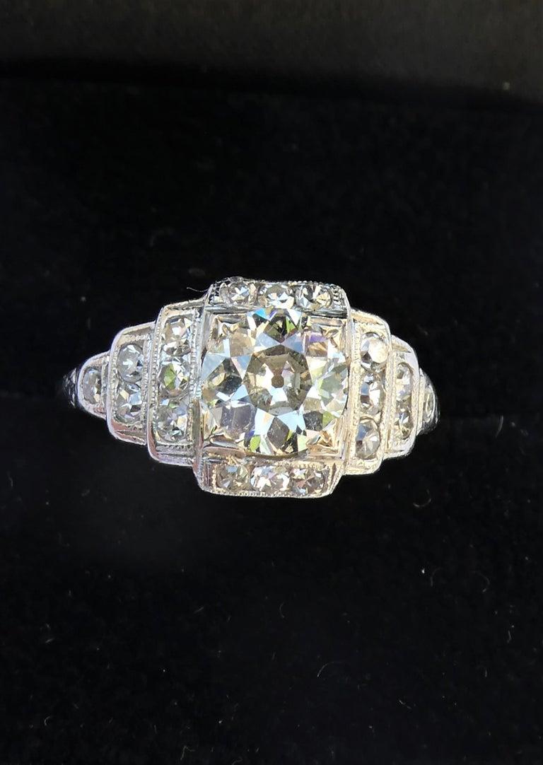 EGL Report Old European Cut 1.04 Carat Diamond Art Deco Platinum Engagement Ring For Sale 3