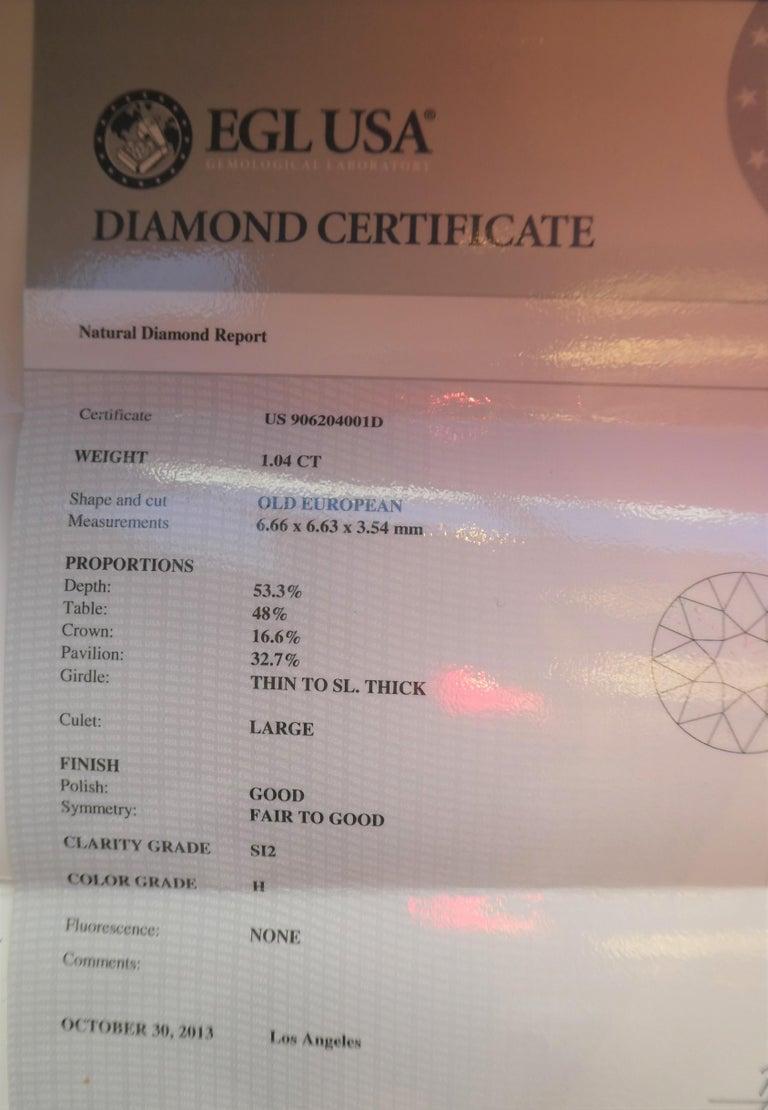 EGL Report Old European Cut 1.04 Carat Diamond Art Deco Platinum Engagement Ring For Sale 4