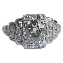 EGL Report Old European Cut 1.04 Carat Diamond Art Deco Platinum Engagement Ring