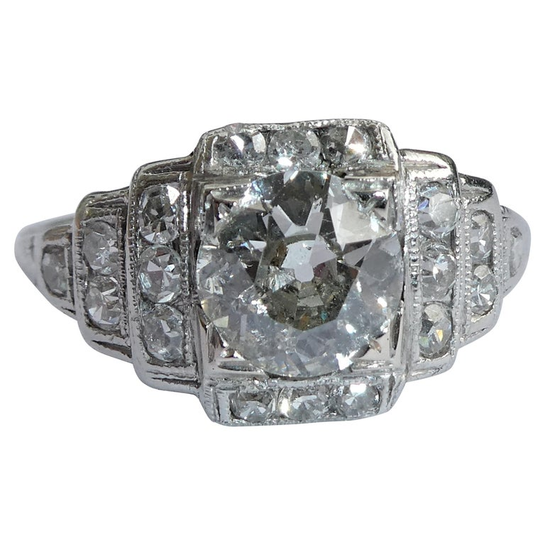 EGL Report Old European Cut 1.04 Carat Diamond Art Deco Platinum Engagement Ring For Sale