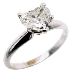EGL US 1.02 Carat I-J/SI1 Heart Brilliant Diamond 14 Karat Solitaire Ring