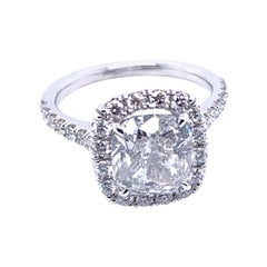 EGL US 3.01 Carat E/SI3 Cushion Diamond 18 Karat Pave Set Ring with Halo