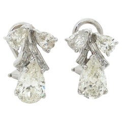 EGL USA 1950s Platinum 4.54CT VS-SI Pear Diamond Earrings w/ Approx. 1.5CT Ctrs.