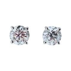 EGL USA Certified 1.18 Carat Total Diamond Stud Earrings in 14 Karat White Gold