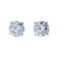 EGL USA Certified 1.41 Carat Total Diamond Stud Earrings in 14 Karat White Gold