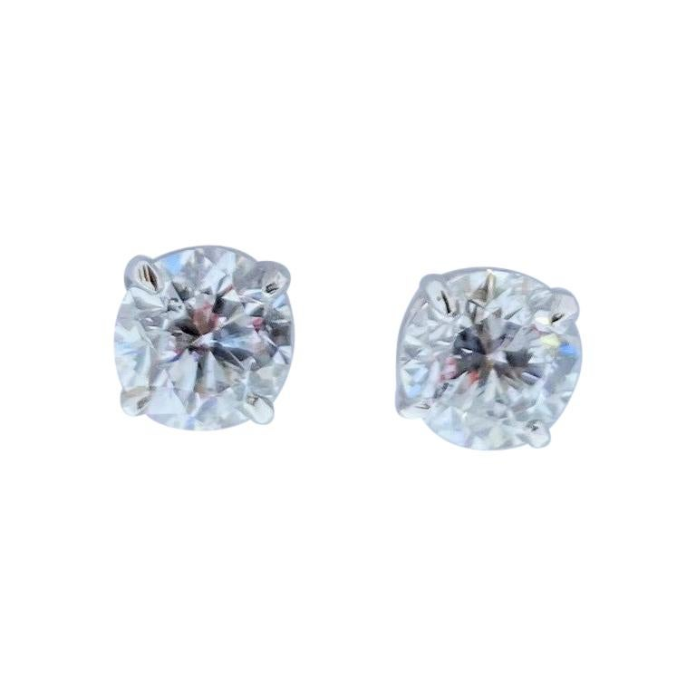EGL USA Certified 1.42 Carat Total Diamond Stud Earrings in 14 Karat White Gold