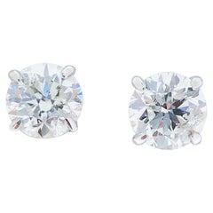 EGL USA Certified 1.42 Carat Total Diamond Stud Earrings in 14 Karat White Gold