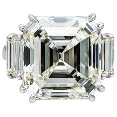 EGL USA Certified 18.75 Carat Emerald Cut Diamond Engagement Ring