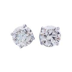 EGL USA Certified 4.9 Carat Total Diamond Stud Earrings in 14 Karat White Gold