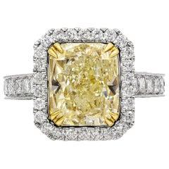 EGL USA Certified 5.07 Carat Cushion Cut Yellow Diamond Halo Engagement Ring