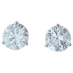 EGL USA Certified 5.10 Carat Total Diamond Stud Earrings in 14 Karat White Gold