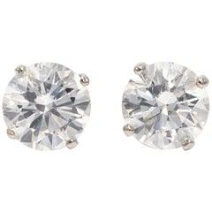 EGL USA Certified 6.27 Carat White Diamond Stud Earrings in 18 Karat White Gold