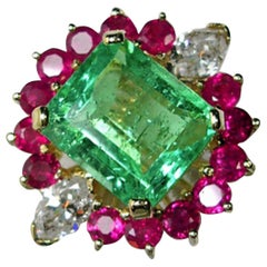 EGL USA Certified 7.14 Carat Emerald Diamond & Ruby Cluster Cocktail Ring
