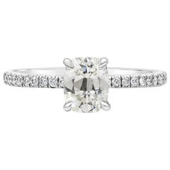 EGL USA Certified Cushion Cut Diamond Pave Engagement Ring