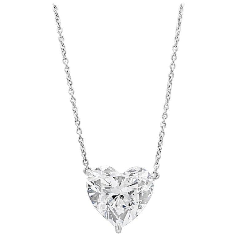 Egl Usa Certified Heart Shape Diamond Solitaire Pendant