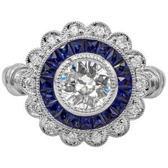 EGL USA Certified Old European Cut Diamond and Sapphire Halo Engagement Ring