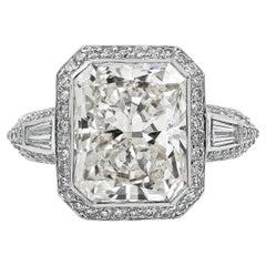 Roman Malakov 5.10 Carat Radiant Cut Diamond Antique-Style Halo Engagement Ring