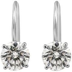 EGL USA Certified Round Diamond Lever-Back Drop Earrings