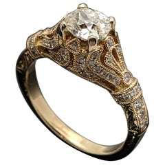 EGL USA Certified Vintage 14 Karat Yellow Gold Diamond 0.71 Carat Ring