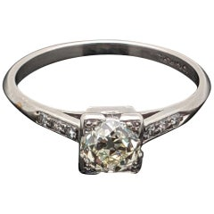 EGL USA Certified Vintage Edwardian-Era Platinum 0.76 Carat Diamond Ring