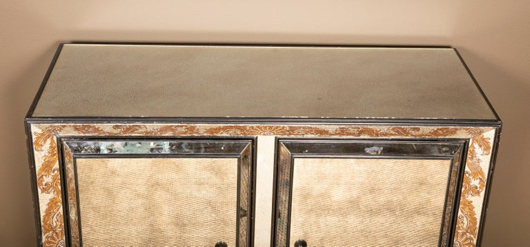 Mid-Century Modern Églomisé Mirrored Cabinet by James Mont For Sale