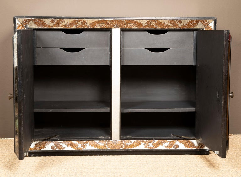 Mid-20th Century Églomisé Mirrored Cabinet by James Mont For Sale