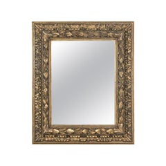 Antique French Eglomise Mirror with Gilded Leaves Frame