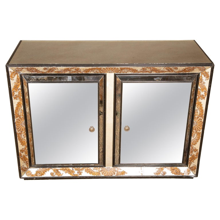 Églomisé Mirrored Cabinet by James Mont For Sale