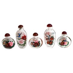 Églomisé Reverse Painted Snuff Bottles Set of Five Flowers and Birds