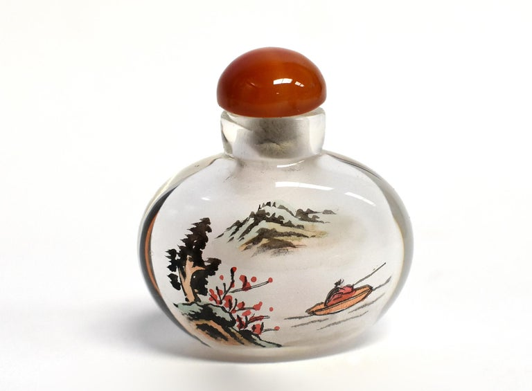 Églomisé Reverse Painted Snuff Bottles Set of Four Country Life For Sale 4