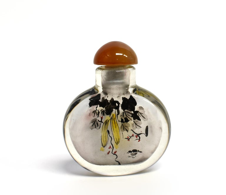 Églomisé Reverse Painted Snuff Bottles Set of Four Country Life For Sale 7