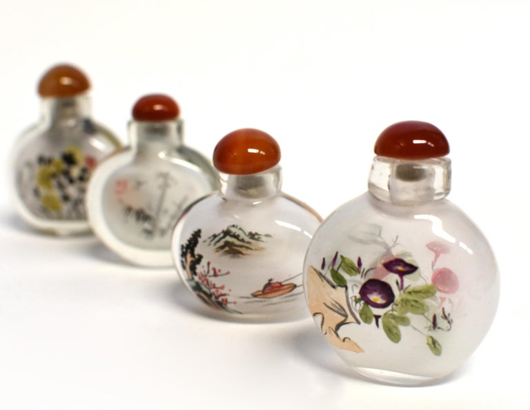 Chinese Églomisé Reverse Painted Snuff Bottles Set of Four Country Life For Sale