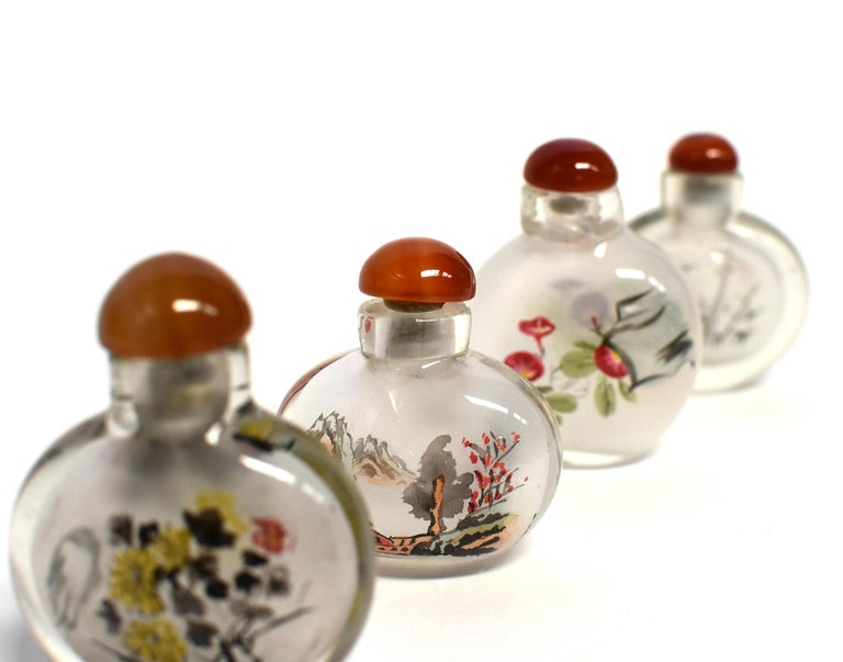 Contemporary Églomisé Reverse Painted Snuff Bottles Set of Four Country Life For Sale