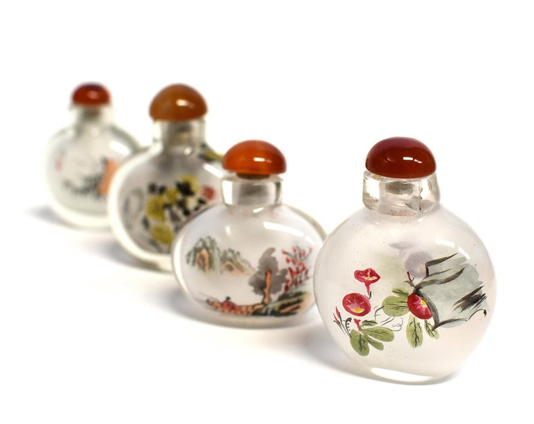 Agate Églomisé Reverse Painted Snuff Bottles Set of Four Country Life For Sale