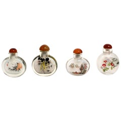 Églomisé Reverse Painted Snuff Bottles Set of Four Country Life
