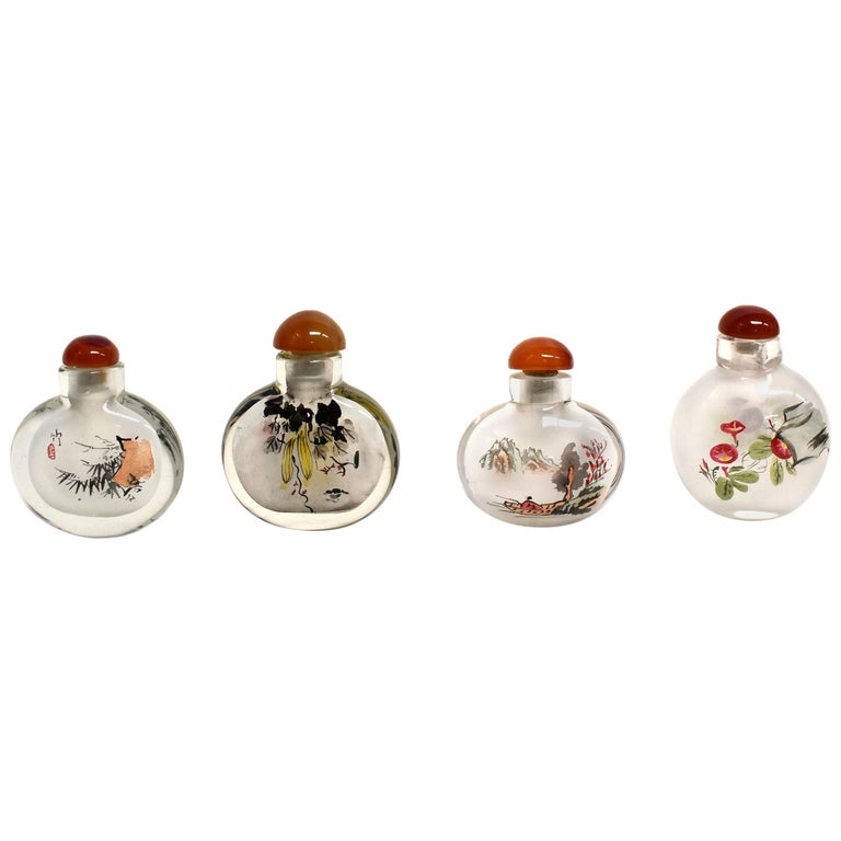 Églomisé Reverse Painted Snuff Bottles Set of Four Country Life For Sale