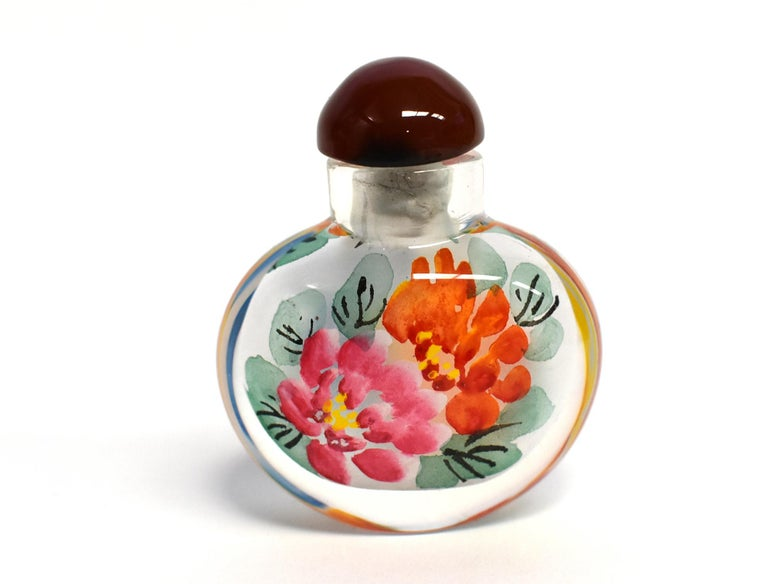 Églomisé Reverse Painted Snuff Bottles Set of Three Peonies For Sale 4