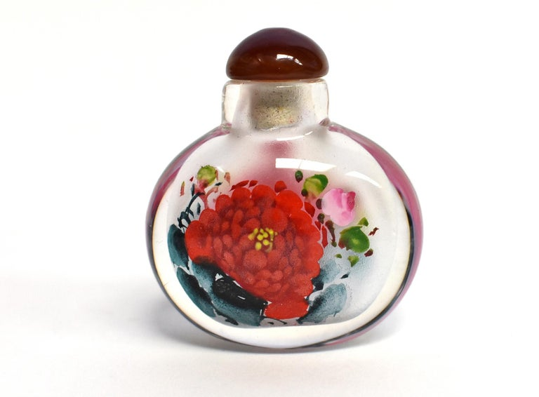 Églomisé Reverse Painted Snuff Bottles Set of Three Peonies For Sale 5