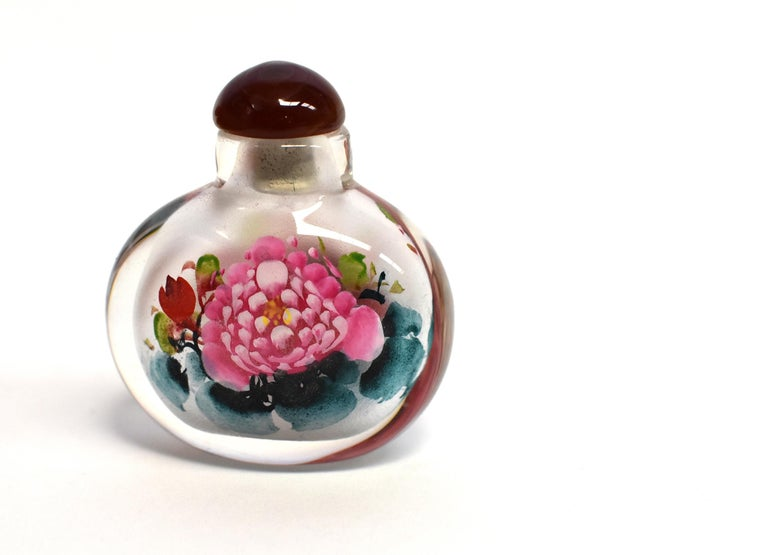Églomisé Reverse Painted Snuff Bottles Set of Three Peonies For Sale 6