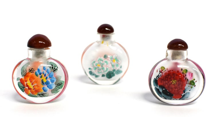 Chinese Églomisé Reverse Painted Snuff Bottles Set of Three Peonies For Sale