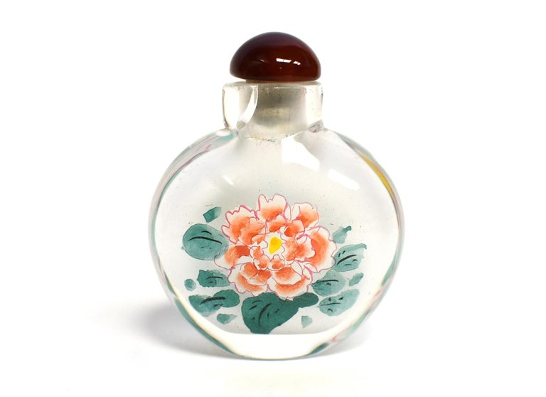 Églomisé Reverse Painted Snuff Bottles Set of Three Peonies For Sale 2