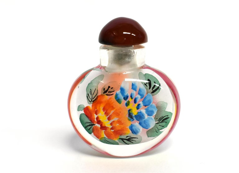 Églomisé Reverse Painted Snuff Bottles Set of Three Peonies For Sale 3