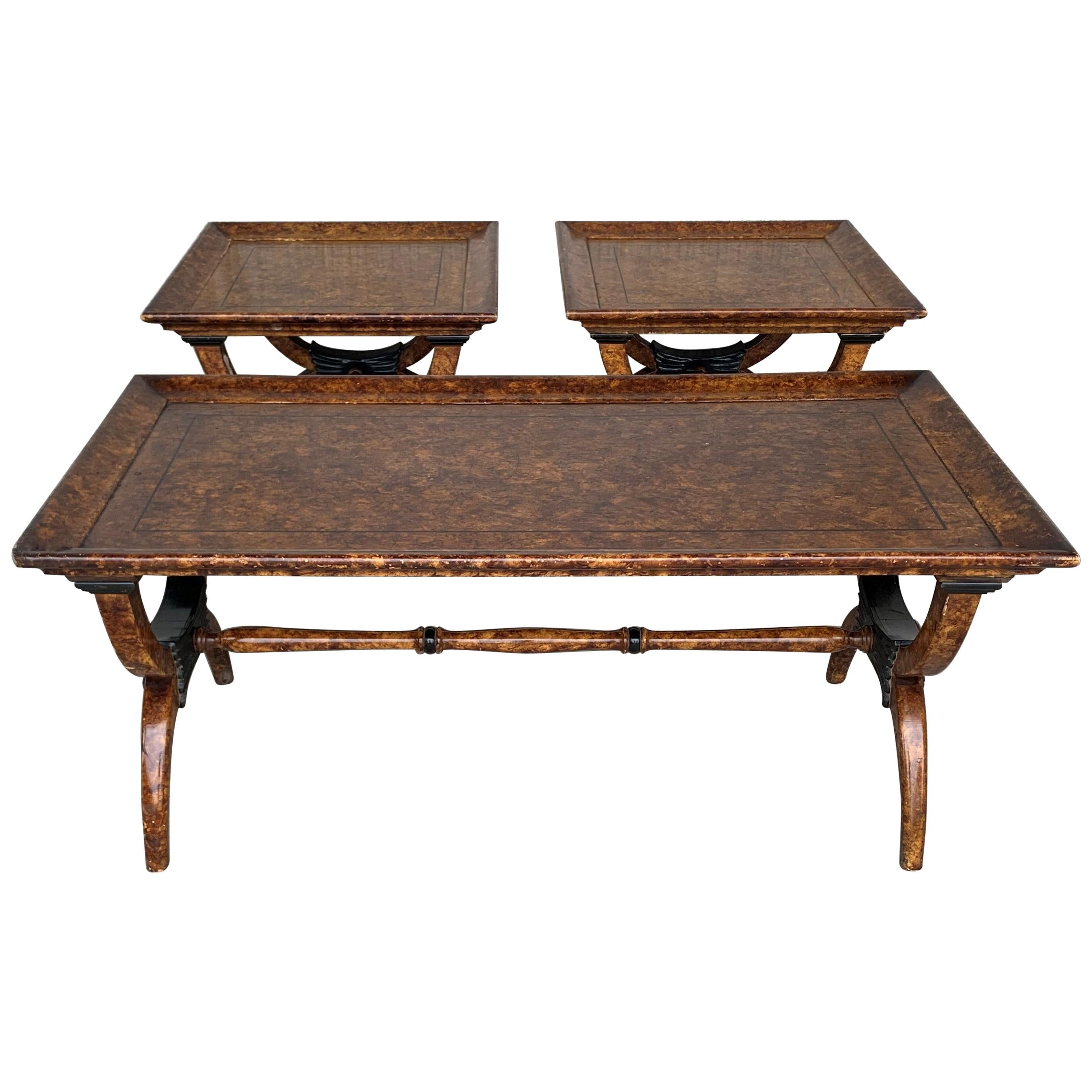 Eglomisé Side Tables in the Hollywood Regency Style