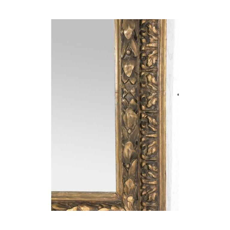 Neoclassical Antique French Eglomise Mirror with Gilded Leaves Frame For Sale