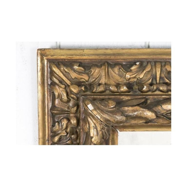 Gilt Antique French Eglomise Mirror with Gilded Leaves Frame For Sale
