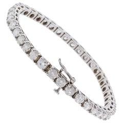 Eglusa Zertifiziertes 11,26 Karat Runder Diamant Tennisarmband in Weißgold