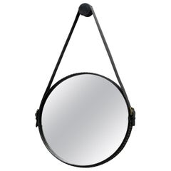 """""""Ego Stud"""" Wall Mirror Steel & Studded Black Leather Framed by Moroso for Diesel"""