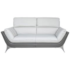 Egoitaliano Leather Sofa with Adjustable Headrests and Stainless Steel Legs