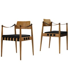 Egon Eiermann for Wilde and Spieth Armchairs in Beech and Leather