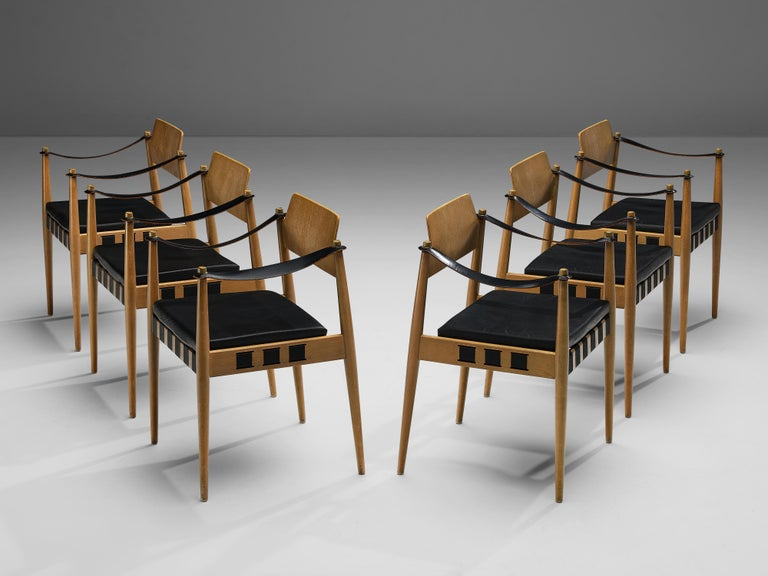 Egon Eiermann for Wilde and Spieth, armchairs, beech, leather, leatherette, Germany, 1960s  Famous postwar German architect Egon Eiermann designed these armchairs for German manufacturer Wilde + Spieth in the early 1960s. This armchair reminds of
